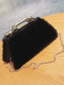 Faux Fur Metal Handle Handbag