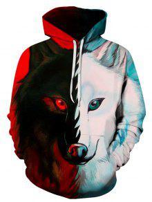 3d اللون كتلة الذئب طباعة البلوز هوديي - 3xl