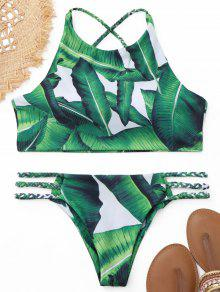 Buy Palm Leaf Braided High Neck Bikini Set - GREEN S