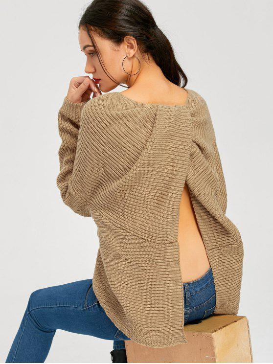 new Back Slit Twist Asymmetrical Pullover Sweater - KHAKI ONE SIZE