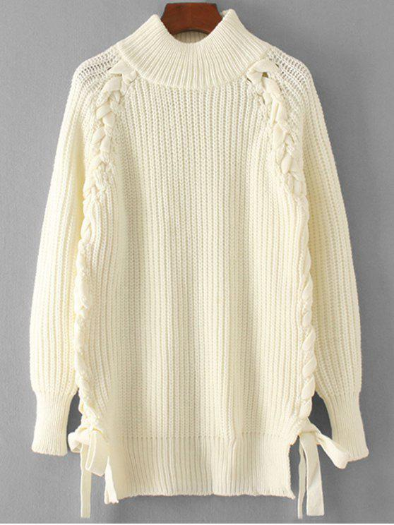 outfits Lace Up Mock Neck Pullover Sweater - WHITE ONE SIZE