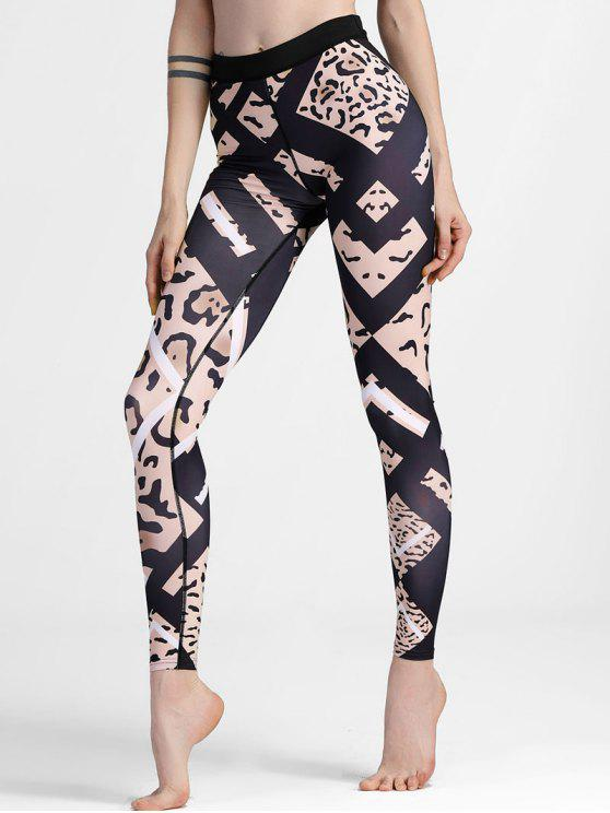 fancy Patterned Slimm Fit Yoga Leggings - BLACK L