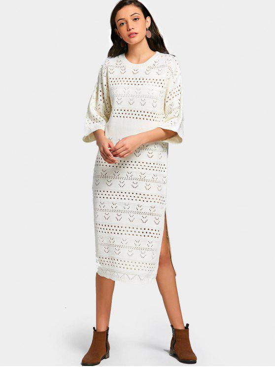 Robe Pull Fourrure Ajourée à Fente - Blanc Taille Unique