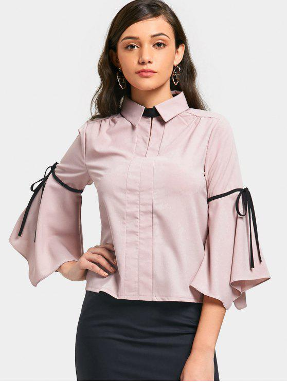 online Flare Sleeve Bow Tied Shirt - PINK M
