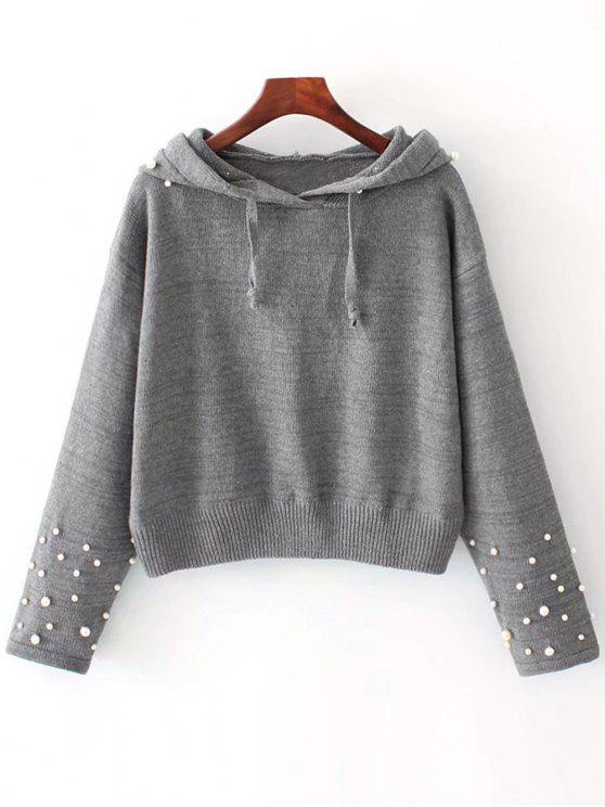 unique Beaded Hooded Sweater - GRAY M
