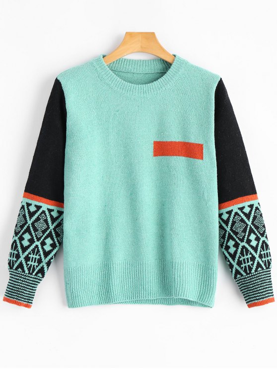 best Patchwork Jacquard Crew Neck Sweater - LAKE GREEN ONE SIZE