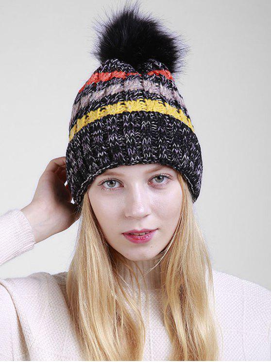 best Fuzzy Ball Crochet Knitted Beanie - BLACK