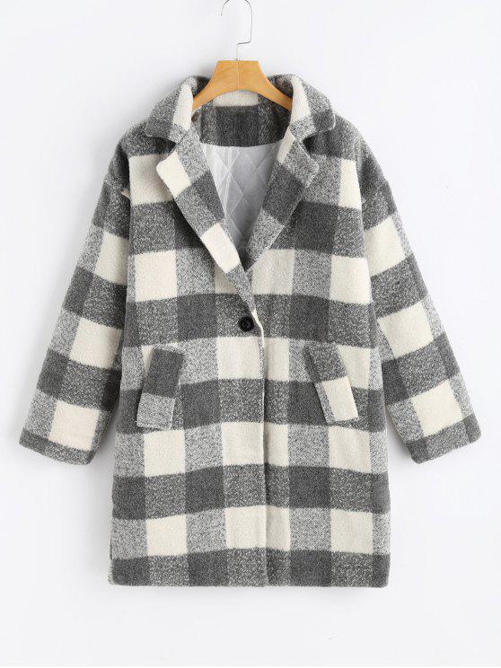 trendy Lapel Checked Tweed Coat - PLAID ONE SIZE