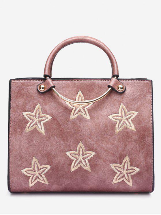 Bolsa redonda de estrelas bordadas com bordados - Rosa