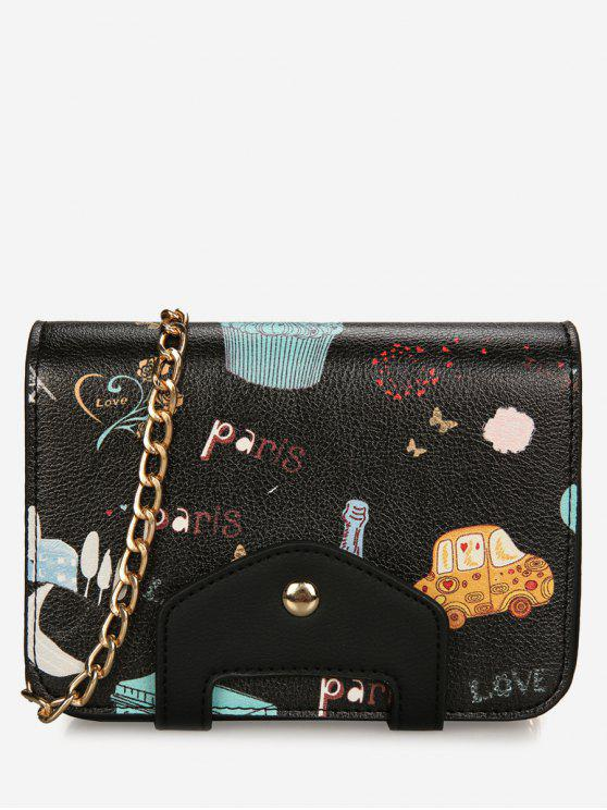 latest Print Patchwork Chain Crossbody Bag - BLACK