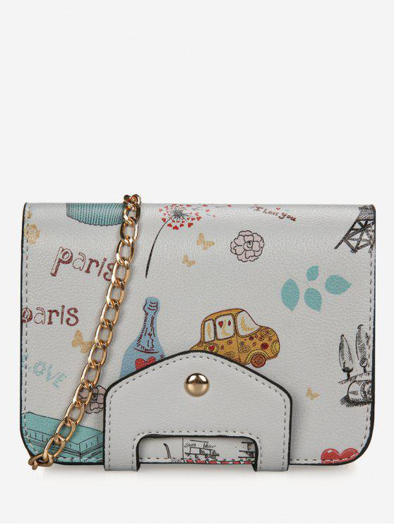 unique Print Patchwork Chain Crossbody Bag - GRAY