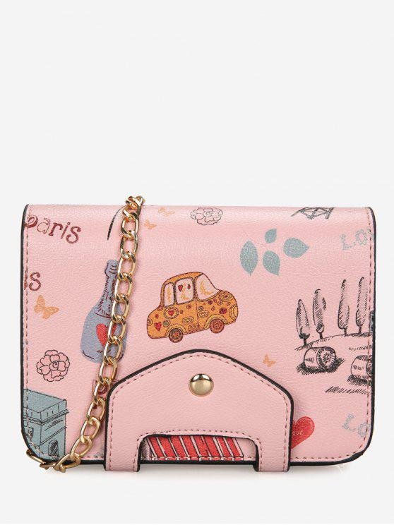 buy Print Patchwork Chain Crossbody Bag - PINK