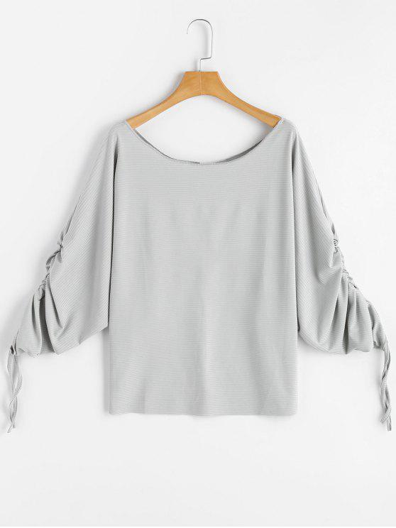 new Scoop Neck Ruched Dolman Sleeve Blouse - LIGHT GRAY L