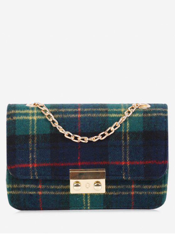 shop Chain Color Block Plaid Crossbody Bag - GREEN