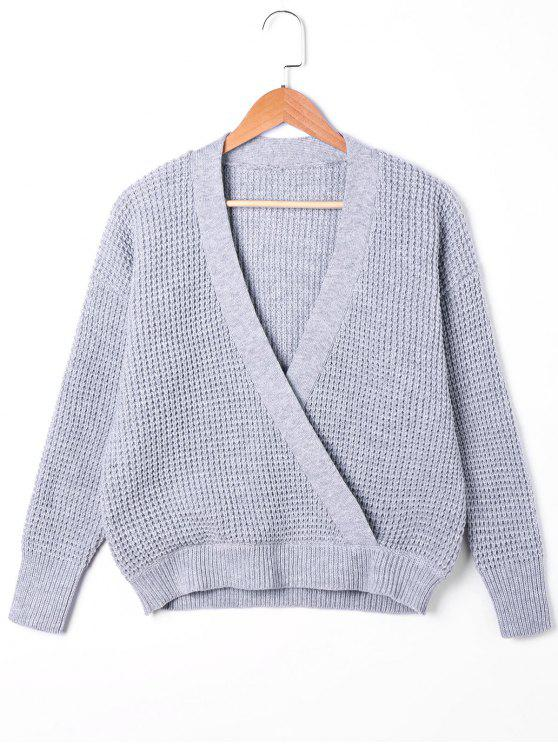 affordable Plunging Neck Surplice Sweater - GRAY L