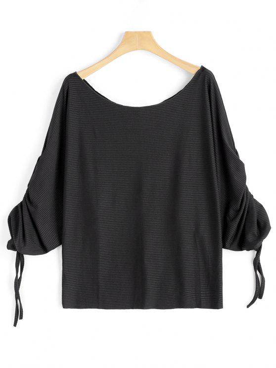 women's Scoop Neck Ruched Dolman Sleeve Blouse - BLACK S