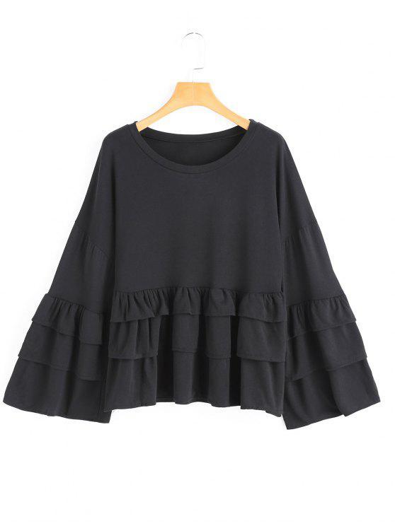 women Tiered Flare Sleeve Plain Blouse - BLACK L