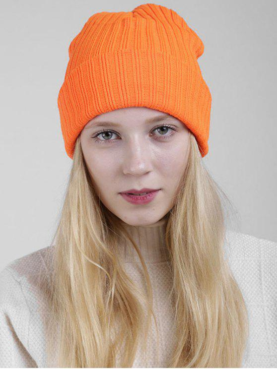 be90a4114da 32% OFF  2019 Plain Flanging Ribbed Knit Beanie In ORANGE