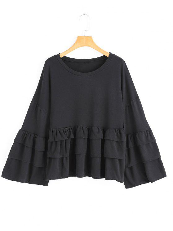 hot Tiered Flare Sleeve Plain Blouse - BLACK S