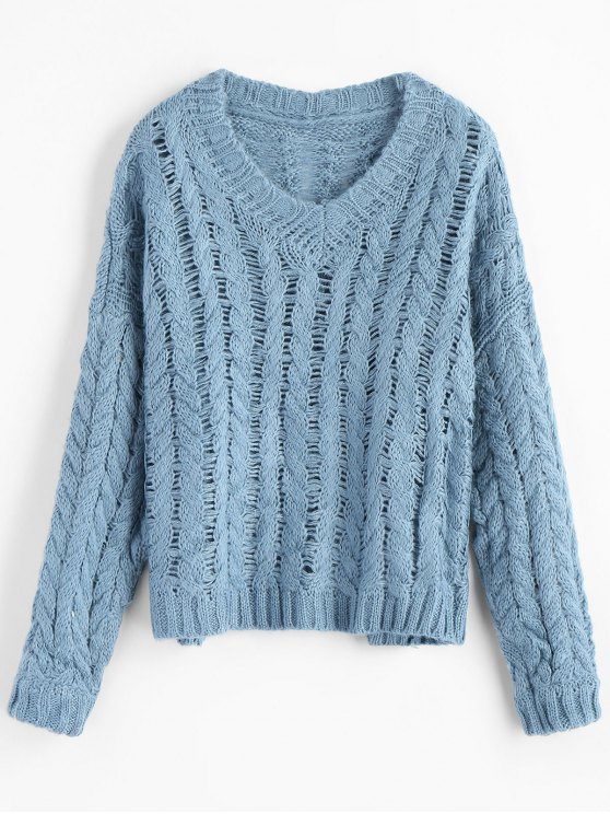 V Neck Chunky Cable Knit Sweater LIGHT BLUE: Sweaters ONE SIZE | ZAFUL