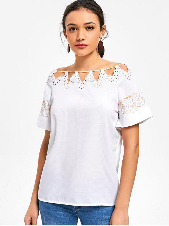 fashion Laser Cut Printed Top - WHITE L
