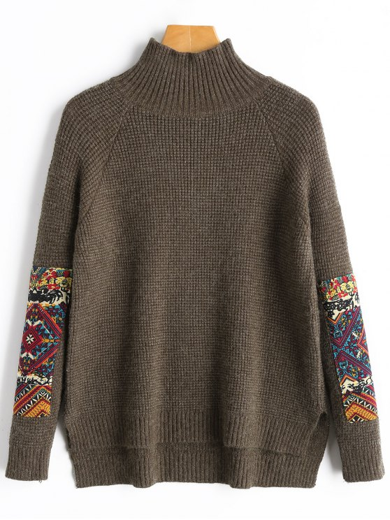 unique Patch High Neck Sweater - COFFEE ONE SIZE