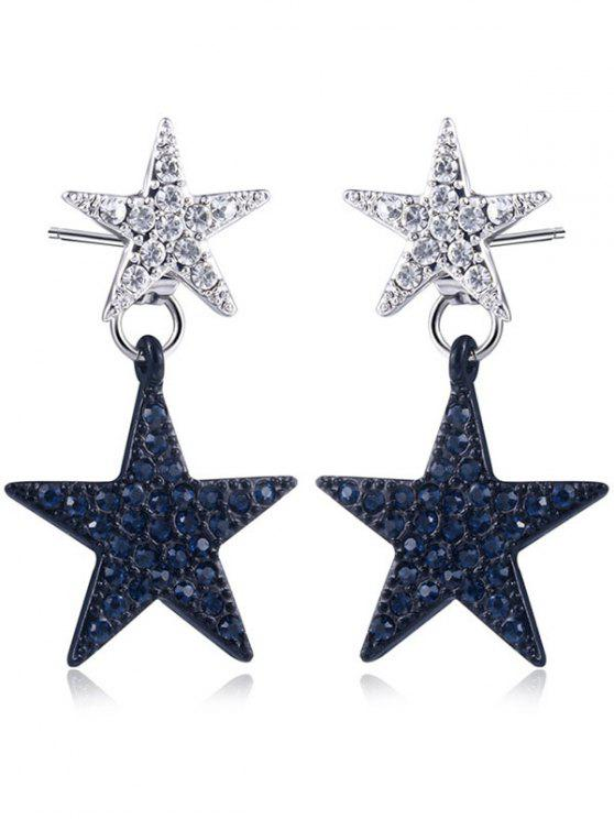 Rhinestoned Double Star Front Back Earrings - Noir+Argent