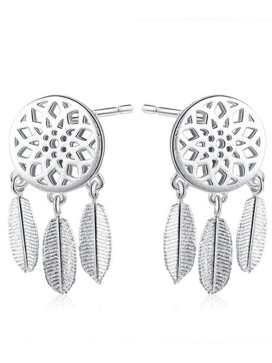 Sterling Silver Feather Dream Catcher Earrings - SILVER