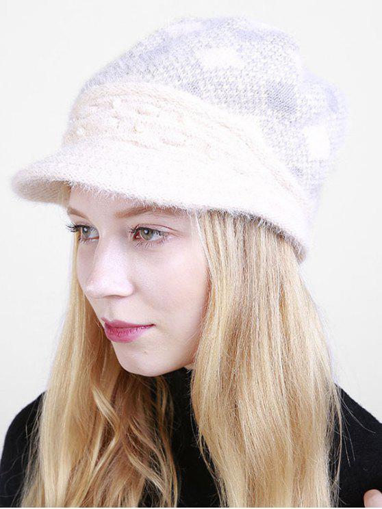 Sombrero de periódico con cuentas Plaid Rhombus - Beis