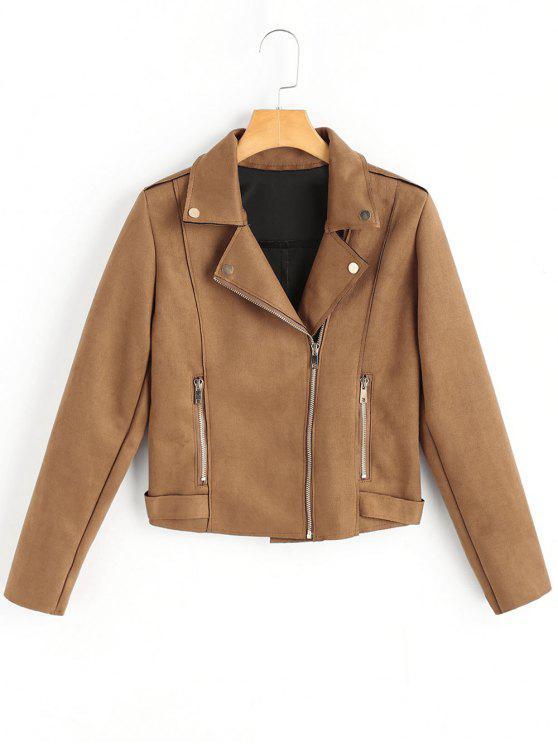 buy Side Zipper Lapel Faux Suede Jacket - CAMEL S