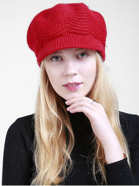chic Wave Knitted Newsboy Hat - BRIGHT RED