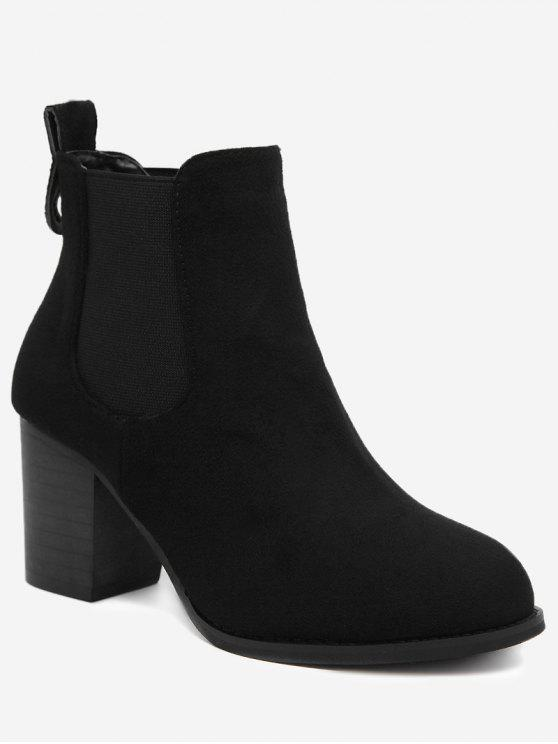 lady Elastic Band Chunky Heel Ankle Boots - BLACK 39