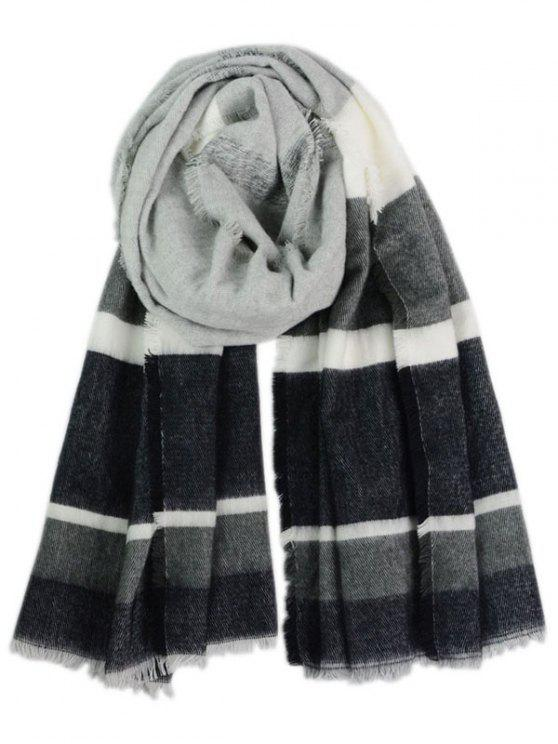 best Color Block Fringed Long Scarf - BLACK