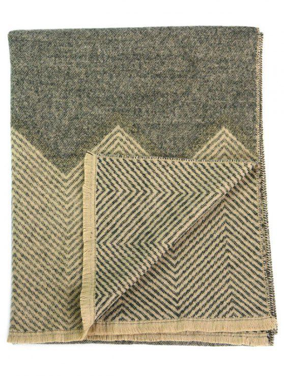 hot Zigzag Print Fringed Winter Scarf - OLD KHAKI
