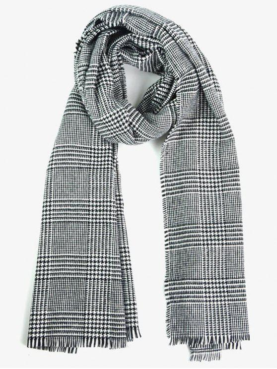 Houndstooth Plaid Fringed Long Scarf - Blanc-Noir