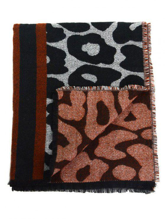 fashion Leopard Print Fringed Long Thicken Scarf - BLACK LEOPARD PRINT