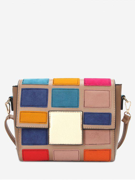 unique Plaid Contrasting Color Crossbody Bag - PINK