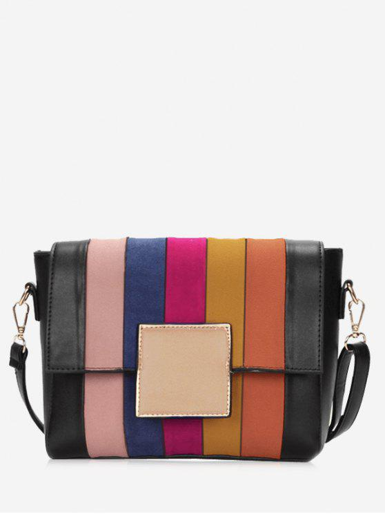 women's Plaid Contrasting Color Crossbody Bag - BLACK AND ORANGE
