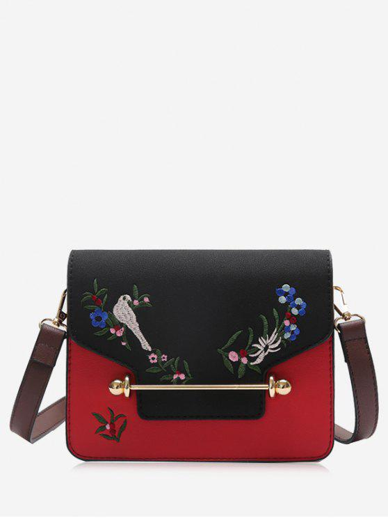 online Birds Embroidery Flower Crossbody Bag - BLACK