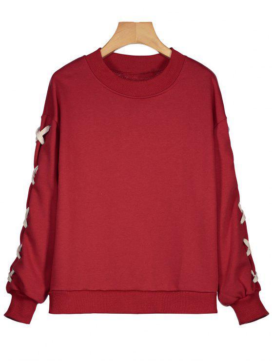 2c81201f6a5 28% OFF] 2019 Drop Shoulder Criss Cross Sweatshirt In RED   ZAFUL