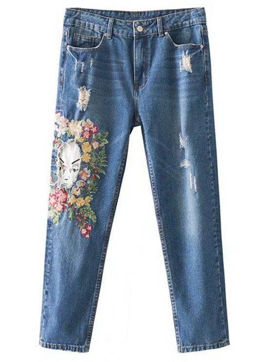 Jeans Fuselé Déchiré à Broderie Florale - Denim Bleu S