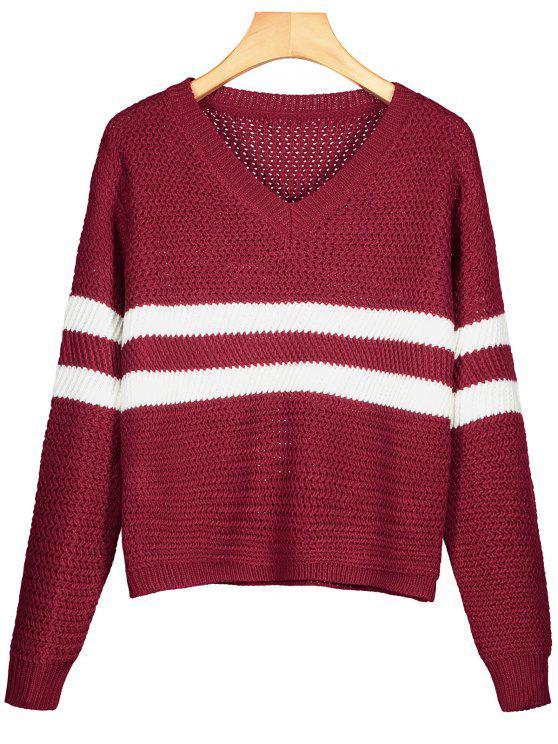 Gestreifter Pullover mit V-Ausschnitt - Dunkelrot Eine Größe
