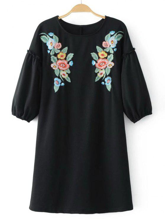 shop Casual Floral Embroidered Tee Mini Dress - BLACK S