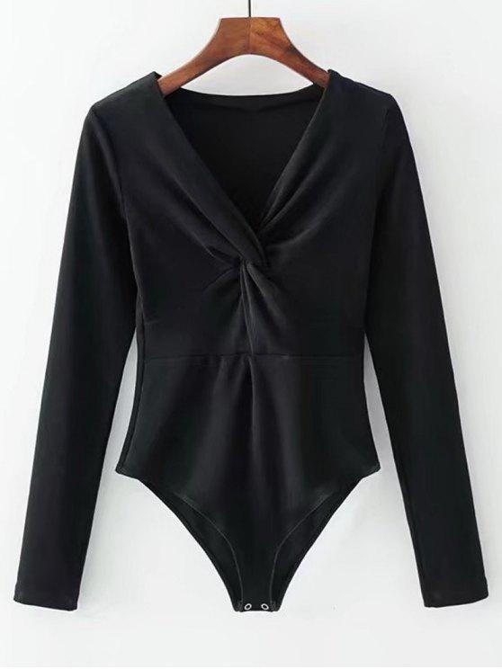 shops Long Sleeve Skinny Twist Bodysuit - BLACK ONE SIZE