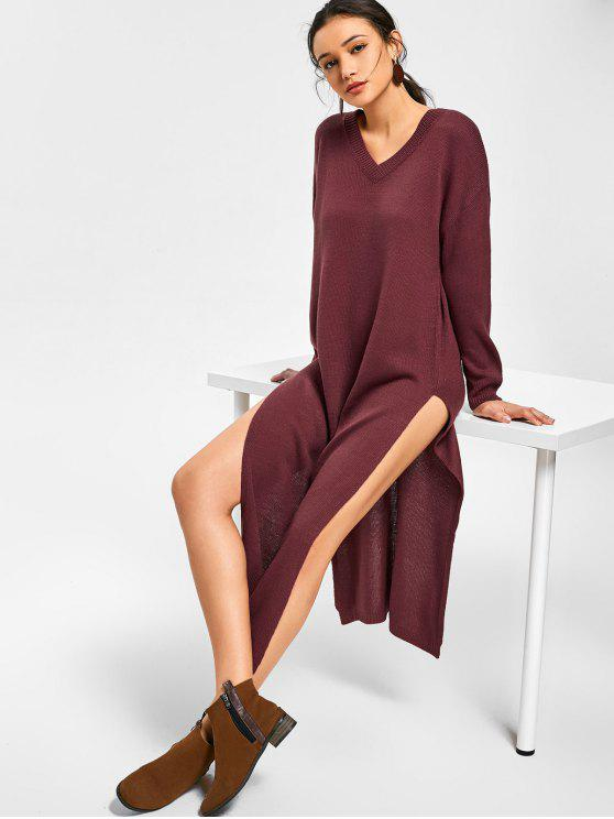 hot Side Slit V Neck Sweater Dress - DARK RED ONE SIZE