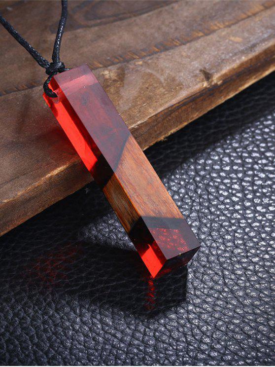Colar pingente geométrico de madeira de resina - Vermelho