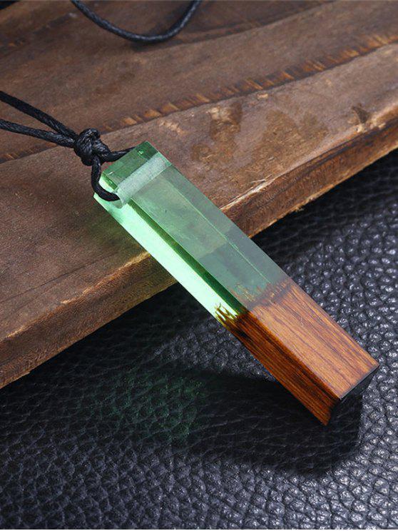 Colar de colarinho geométrico de resina de madeira - Verde