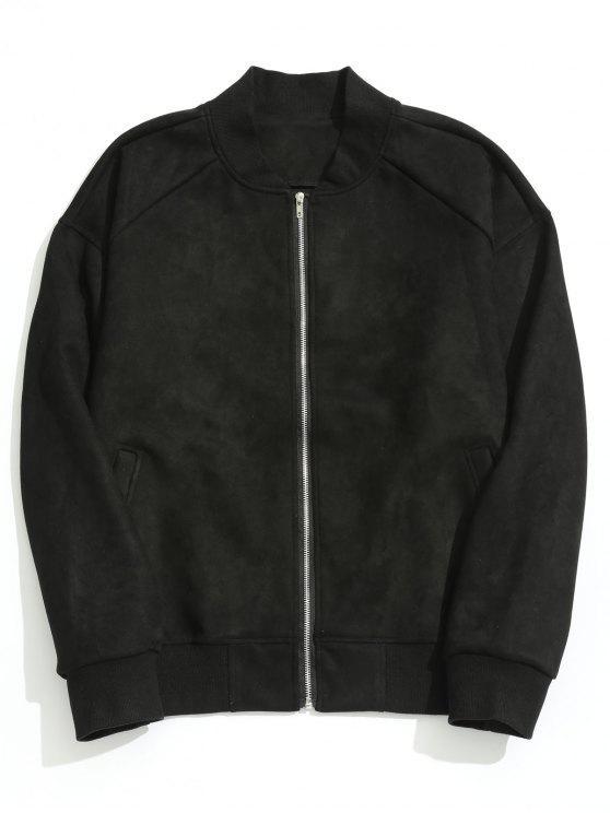shop Zippered Suede Jacket - BLACK L