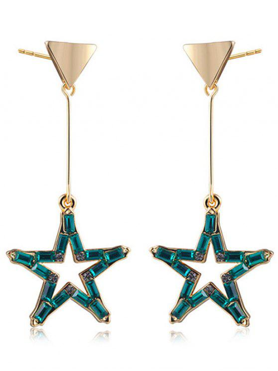 Faux Crystal Triangle Star Earrings - Or