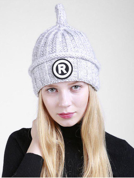 Letter R Pattern Crochet Pointy Beanie - Gris Clair